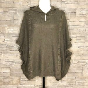 RD Style khaki hooded batwing sweater